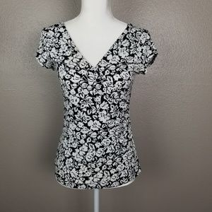 WHBM B/W Wrap Front Ruched Cap Sleeve Career Top S